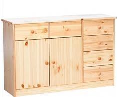 Erst-Holz Design Semplice per Cassettiera-credenza con 2 Ante e 6 cassetti in Pino massello 90.50-26