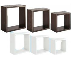 SANITEC Incubo Mensole da Parete, PVC, Wengè, 15.5x35.0x35.0 cm 3 unità