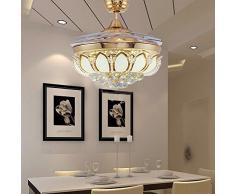 LKMNJ Home lampadario il Soggiorno Camera da letto luce ventola Il Ristorante Ventilatore da soffitto LED con lampadario Ventilatore 107cm/42pollici metallo Stealth le lampade moderne in stile Europeo oro dimmerabile