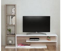 PEONY Set Soggiorno - Parete Attrezzata - Mobile TV Porta con mensola in moderno design (Bianco / Avola)