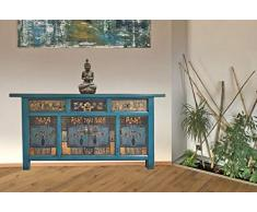 opium outlet cinese grande credenza cassettiera shabby chic vintage stile coloniale motivi colorati, Design 4