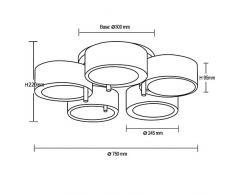 Kusun ® Moderno 5-Head Plafoniere Bianco Lampada moderna Si applica a Soggiorno/camera da letto/sala da pranzo Lampadario (5 x E27 max 40W/lampadina non inclusa)