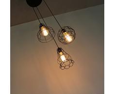 KOONTING 3-testa vintage industriale lampade a sospensione con paralume in metallo nero gabbia, Lampadario altezza regolabile,attacco E27.