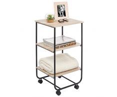 mDesign Tavolino con rotelle – Moderno carrello portaoggetti a 3 livelli – Pratico mobiletto con ruote per il bagno, la cucina o la camera dei bambini – naturale/nero