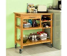 SoBuy Carrello di servizio, Carrelli per cucina ,mensola angolare, FKW23-N (L84*L39.5*A81cm). IT