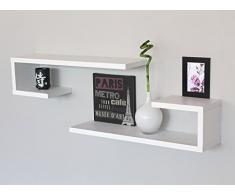2 MENSOLE Design LEGNO a Parete Muro Salotto Camera BIANCO Con Venature CI BI