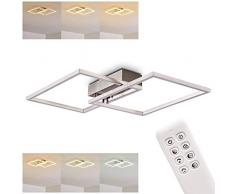 Plafoniera LED Colomero in metallo di colore argento - Lampada da soffitto con telecomando per salotto - Soggiorno- Intensità e temperatura luce regolabile - 2700-5000 Kelvin