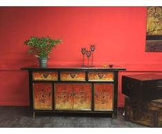 OPIUM OUTLET Grande Credenza, Cassettiera, Comò Asiatica, Mobili Camera da Letto Vintage Shabby-Chic Orientale coloniale in Legno di Pino