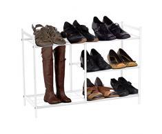 Lyndan - Bianco 3 ripiani scarpiera Torre in Metallo Rivestito a Polvere, Organiser alto, con spazio per stivali, stivali di gomma, scarpe supporto mensola da armadio