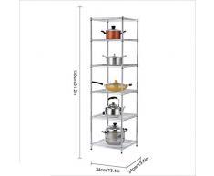 LYY Scaffale Quadrato a 5 Piani per Cucina a Parete, scaffale di stoccaggio in Acciaio Inox, Argento 35 * 35 * 130 cm (13,4 * 13,4 * 51,2 Pollici)