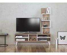 LILY Set Soggiorno - Parete Attrezzata - Mobile TV Porta con mensola in moderno design (Avola - Bianco)