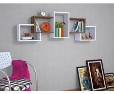 BERRIL Mensola da muro - Bianco / Noce - Mensola Parete - Mensola Libreria - Scaffale pensile per studio / soggiorno in Design moderno