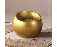 AINIYF Moderna vetroresina Sgabello da Salotto Globe Lounge Chair contemporanea Sedia da Ufficio Backless per Tea Time Chat, Comunicazione Bussiness / 22.8x19 Pollici (Colore : Oro)