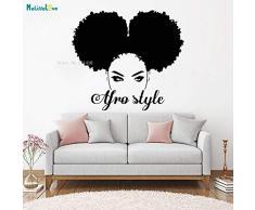 CDNY Adesivo per finestre in Stile Africano Adesivo per Finestra Decorazione Salone di Bellezza Donna Viso Africano Nero Ragazza Mobile murale 75,6x67,2 cm