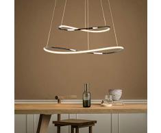 ZMH, moderna lampada a sospensione a LED, 35 W, 2 anelli, LED 3000 K, luce bianca calda, lampada a sospensione in ferro cromato e alluminio, per soggiorno, camera da letto
