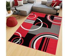 TAPISO Maya Tappeto Salotto Moderno Soggiorno Rosso Geometrico Astratto A Pelo Corto 250 x 350 cm