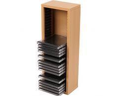 Jago Scaffale mobile porta CD da parete muro fino 30 CD ca. 43,6/15,5/10 cm colore faggio