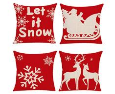 Yidaxing Buon Natale Fiocco di Neve 4 Pack Cuscini per Divani Decorativo Cotone Biancheria Cuscino Copricuscini Divano Caso Federa per Cuscino(45x45cm)