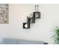 DAISY Mensola da muro - Wengé - Mensola Parete - Mensola Libreria - Scaffale pensile per studio / soggiorno in un design moderno