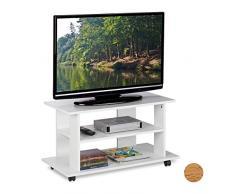 Relaxdays Mobiletto per la Televisione con Ruote, 2 Ripiani Decoder Console Porta TV Mobile HLP 45x80x40 cm, Bianco, Truciolato, Carta, plastica