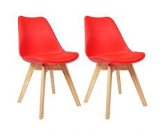 Woltu BH29rt-2 Sedia da Pranzo Cucina Sedia da Scrivania Studio Ufficio Seggiola Chairs Sgabello con Schienale Ecopelle Legno di Faggio Moderno Comodo Rosso 2 Pezzi