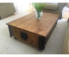 Uncle Joes Tavolino da salotto in stile vintage-shabby chic, dotato di coperchio apribile, in legno, marrone chiaro, 100 x 65 x 30 cm