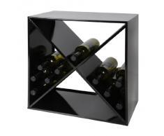 Cantinetta / scaffale per vino / Cubo CARRÈ in metallo, nero, ampilabile / impilabile - a 50,2 x l 50 x p 30 cm