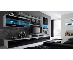 Home Innovation- Mobile Soggiorno - Parete da Soggiorno moderno con LED, Bianco Mate e Nero Laccato, dimensioni: 250 x 194 x 42 cm di profondità.