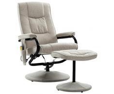 vidaXL Poltrona Massaggiante con Poggiapiedi Elettrica Regolabile Robusta Imbottita Poltroncina Relax Sedia Massaggio Crema in Tessuto
