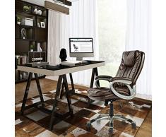 Aingoo Sedia da ufficio direzionale computer in pelle PU, sedia girevole per computer regolabile in marrone