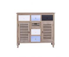 Tavolo credenza armadietto legno cassetti design vintage salotto soggiorno effetto antico vintage antico (0-TM7027)