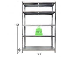 Scaffalatura metallica Maciste - ALTA PORTATA - scaffale in metallo Zincato - 5 Ripiani- Portata 1.300 Kg (120x60x195h)