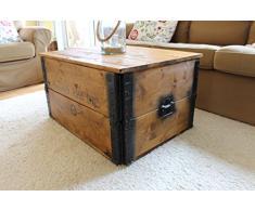 Baule in legno tavolino da salotto tavolino Vintage stile shabby chic in legno di noce massiccio