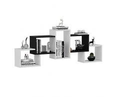 Homidea Bold Mensola da Parete – Bianco/Nero – Libreria – Mensola da Appendere – Mensola Decorativa per Soggiorno in Design Moderno.