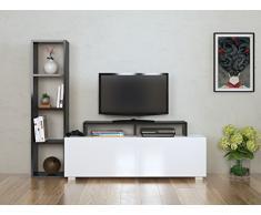 ASTER Set Soggiorno - Parete Attrezzata - Mobile TV Porta con mensola in moderno design (Bianco/Nero)