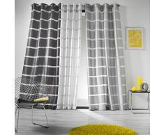 Douceur d' interno 1605325 Tenda con occhielli, shantung bande Link poliestere grigio/argento 260 x 140 cm