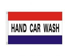 Hand Car Wash Bandiera 5 Piede x 3 Piede rimessa pubblicità valletto gonfalone