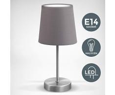 Lampada da comodino, Lampada da tavolo con paralume in tessuto grigio, adatta per lampadina E14 non inclusa max 25W, altezza 30.8cm, abat-jour per camera con interruttore on off sul filo, IP20, 230V