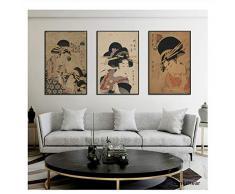 Stampa su Tela Decorativo Giapponese Decorazioni Giapponesi Dipinti e Stampe Quadri per pareti Stampa su Camera da Letto -50x70cmX3 Pezzi Senza Cornice