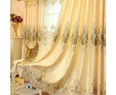 Set di 2 tende jacquard dorate europee di lusso per camera da letto, soggiorno (175x140 cm), Plastica, gold, 230*140 cm
