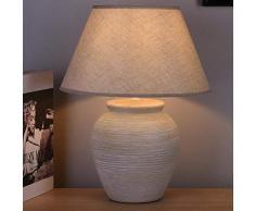 Bakaji Lampada da tavolo Base a Vaso in Ceramica Paralume in Tessuto Beige Lume Comodino Camera da Letto Luce Lampadina E27 Max 40W Abatjour Design Moderno Dimensioni 41,5 x 32 cm