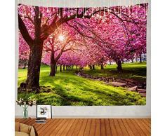 Yhjdcc Arazzo Albero Giapponese Fiore Giardino Esterna Parete Grande Arazzo Psichedelico Decorazioni Per Camera Da Letto Soggiorno Dormitorio 150 cm x 200 cm