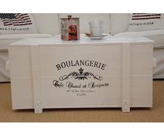 Uncle Joe - Cassapanca Boulangerie in Stile Vintage Shabby Chic, in Legno Massiccio Bianco, con vano portaoggetti e Coperchio, in Legno, Stile Rustico, Colore: Bianco