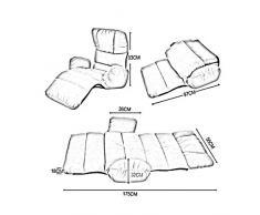 YCSD Divano Letto Pieghevole Pieghevole Regolabile a 8 Posizioni Piano Chaise Longue Futon Materasso Sedile Sedia, bay Window Divano (Colore : Gray)