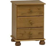 STRAND - legno massello 3 cassetti Comodino - Pino Antico