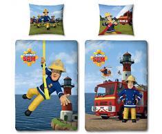 Character World - Biancheria da letto double-face, 100 x 135 cm, 60 x 40 cm, 100% cotone Linon, con chiusura lampo, 2 motivi di Sam il pompiere