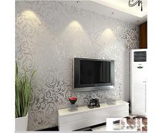 KeTian, rotolo di carta da parati con dettaglio di moderno e lussuoso vittoriano damascato strutturato in rilievo, per soggiorno, camera da letto, sfondo tv, in tessuto non tessuto, 0,53 m x 10 m = 5,3 m², PVC, Silver, 0.53m