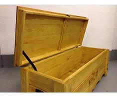 Decocraft Cassapanca in legno rovere rustico tavolino tronco vintage ottomano (BT5)