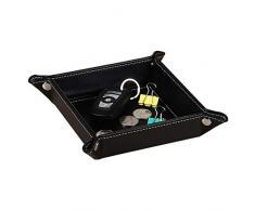 Valigetta in Metallo Valking Tray in Pelle Catchall Jewelry Tray Dice Box Comodino Vassoio Portachiavi Orologi con Cambio Moneta e Porta Caramelle
