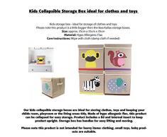 Towelsrus bambini cassettiera pieghevole, ideale per vestiti e giocattoli 35 cm x 35 cm x 35 cm Yellow Monkey